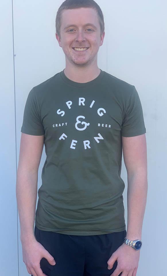 Men's green tshirt - Sprig & Fern's Merchandise.